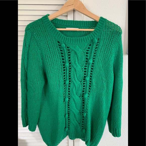 51e3ec23862 Old Navy Sweaters | Green Cable Knit Sweater Acrylicwool Blend ...